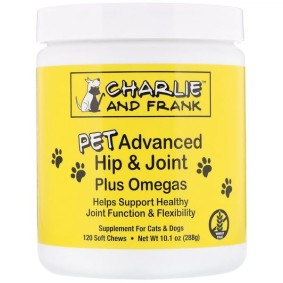 PET Advanced Hip & Joint Plus Omegas, Charlie & Frank, для кошек и собак