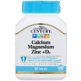 Calcium Magnesium Zinc + D3, 21st Century, 90 таблеток