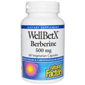 WellBetX Berberine, Natural Factors, 500 мг, 60 вегетарианских капсул