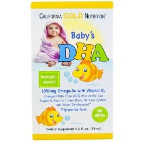Baby's DHA, California Gold Nutrition, 1050 мг, Омега-3 с витамином D3