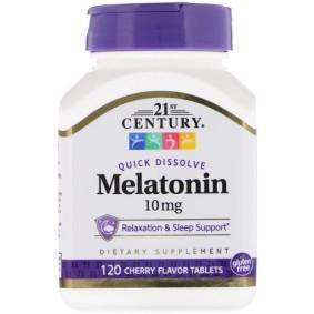 Melatonin, 21st Century, с вишневым вкусом, 10 мг, 120 быстрорастворимых таблеток