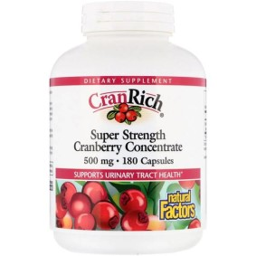 Cranberry Concentrate, Natural Factors, CranRich, суперсила, 500 мг