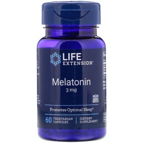 Melatonin, Life Extension, 3 мг, 60 вегетарианских капсул